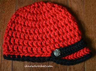 red and black crochet Utes hat