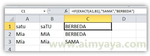 Gambar: Contoh penggunaan fungsi EXACT() di dalam if untuk membandingkan dua buah teks atau kata
