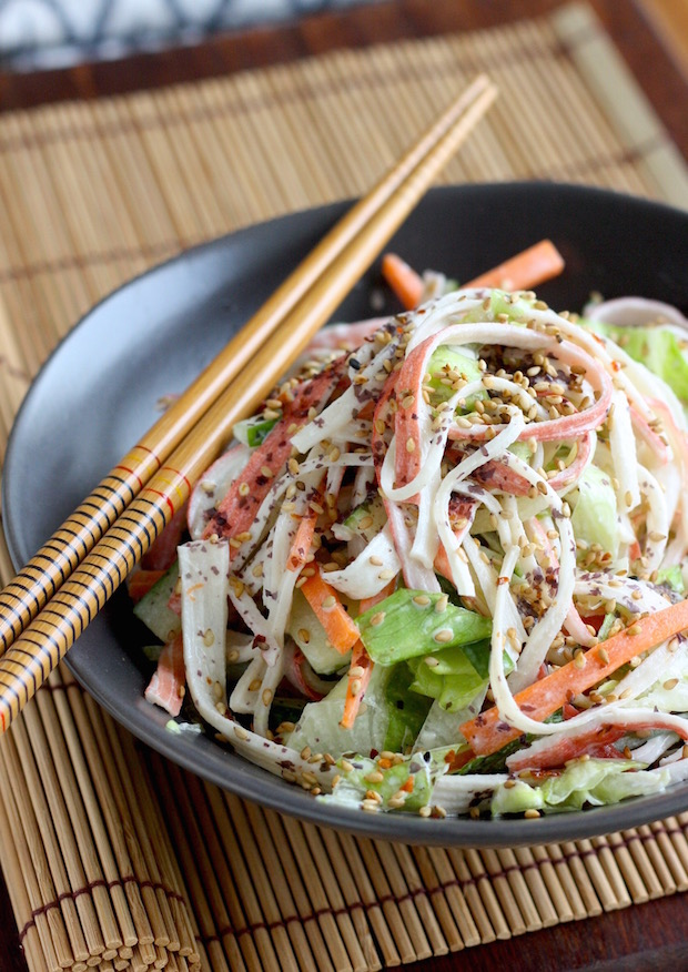 Kani Salad (Japanese Crab Salad) by SeasonWithSpice.com