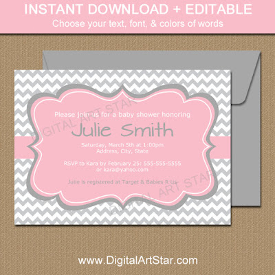 pink and gray baby shower invitation template printable download