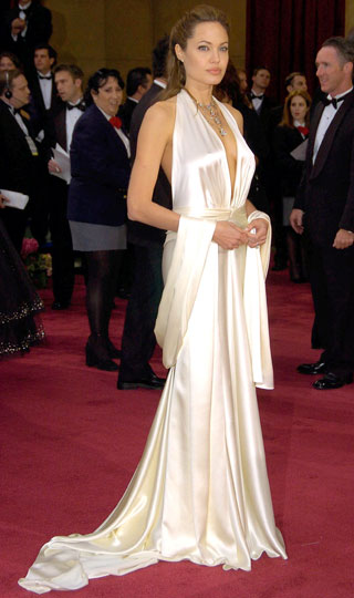 Jolie looks like a Greek Goddess in this beautiful cream colored gown