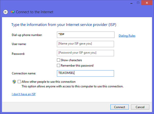 Dial-up Telkomsel connections windows 8.1