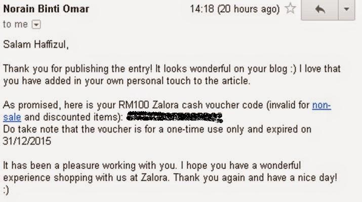 cara nak dapatkan cash voucher dari zalora