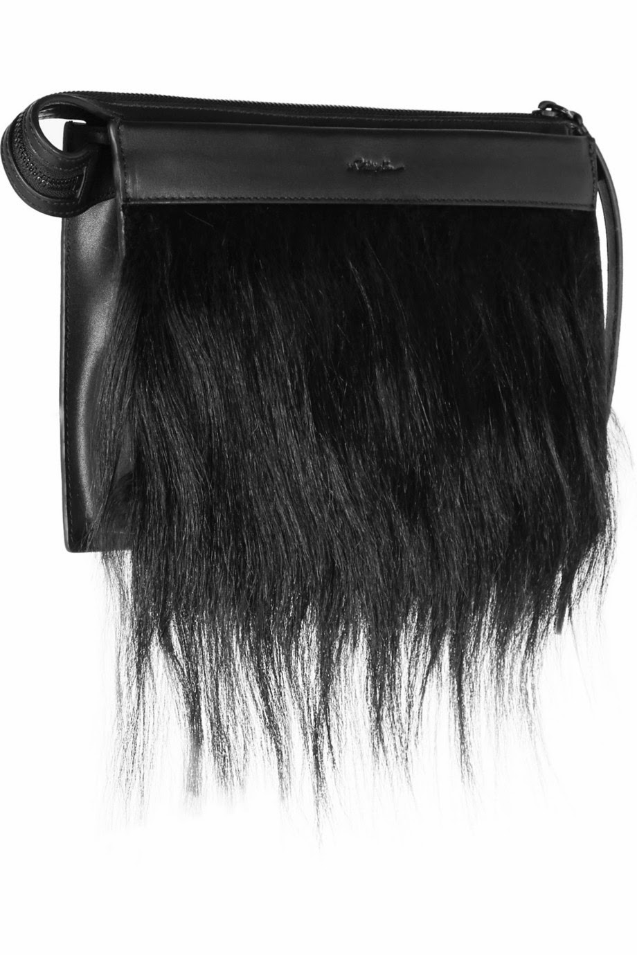 Net-a-Porter 3.1 Phillip Lim Depeche small goat hair-trimmed leather clutch