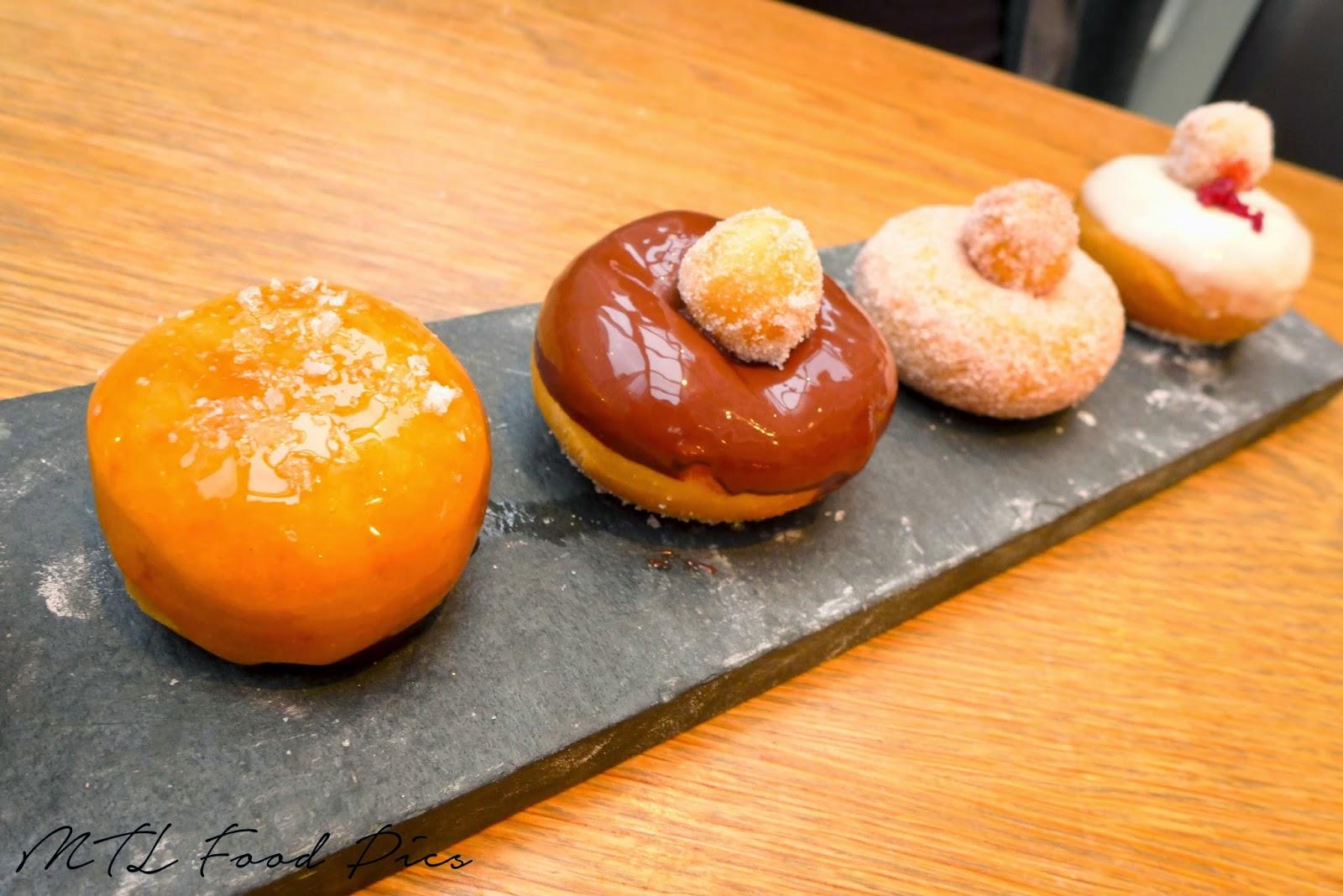 Apple Maple-Caramel, Dark Chocolate, White Chocolate-Cranberry, Cinnamon-Sugar Doughnuts