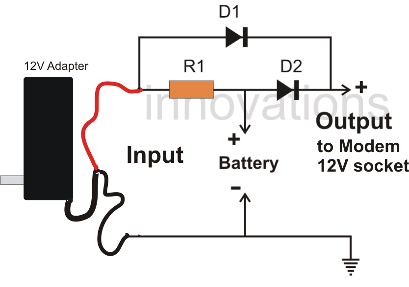 simple dc ups circuit for modem router electronic circuit projects