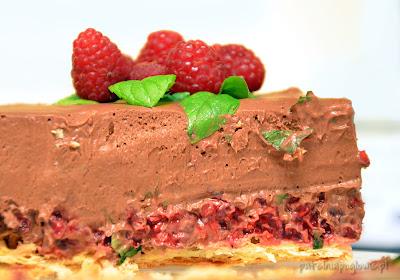 tort, czekolada, maliny, mięta, przepis, deser