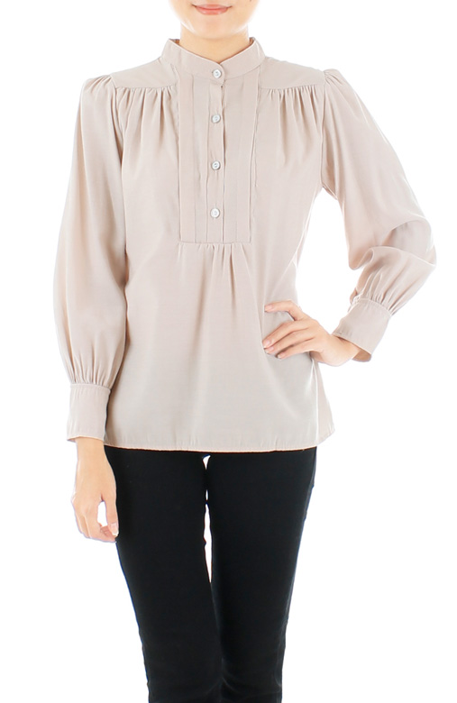 Linen Romantic Mandarin Long Sleeve Blouse