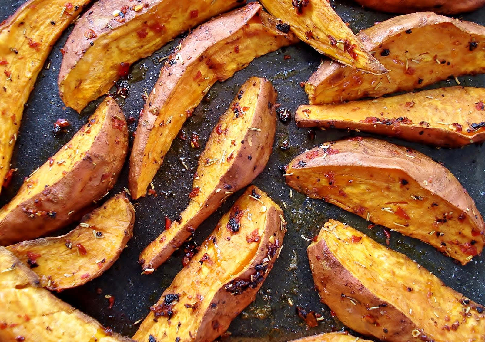 Roasted Sweet Potato Wedges with Black Garlic, Chilli & Rosemary GF ...