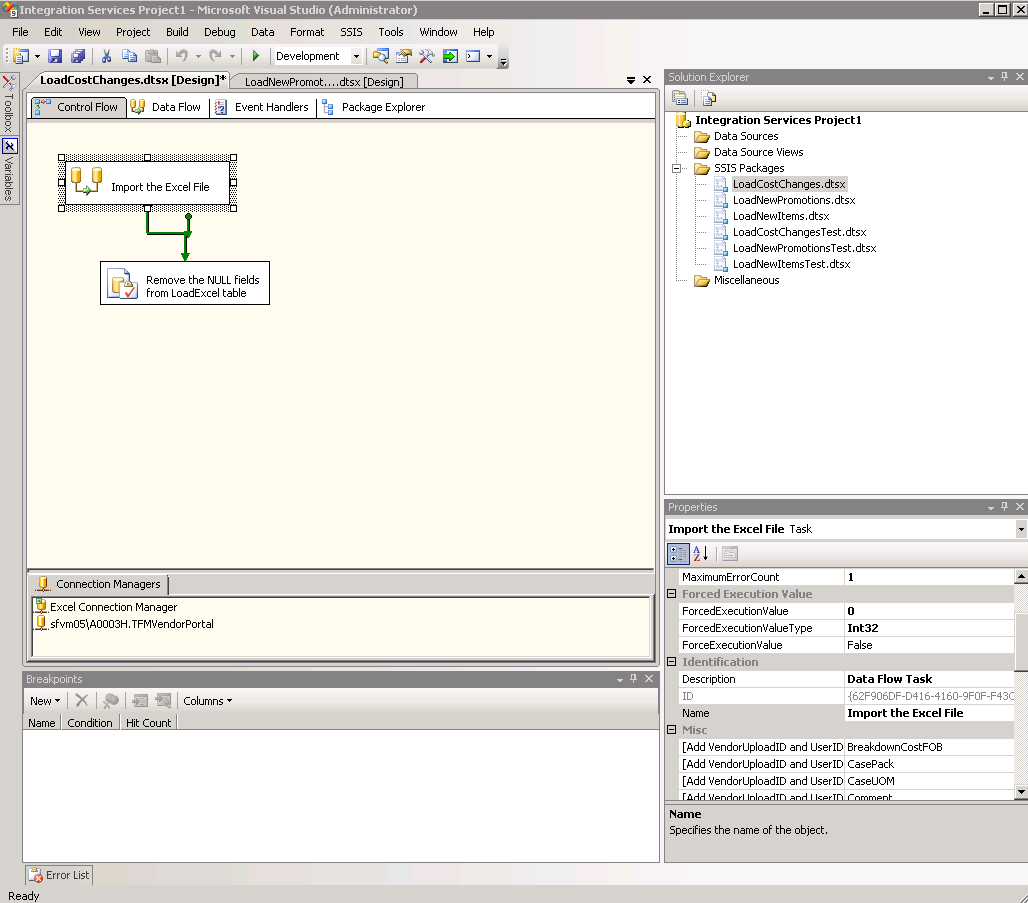 ssis how to use parameterise excel connection manager