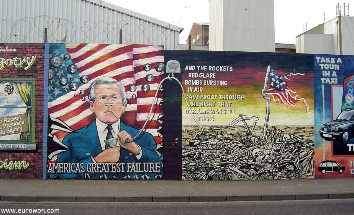 Mural en contra de George Bush y Estados Unidos