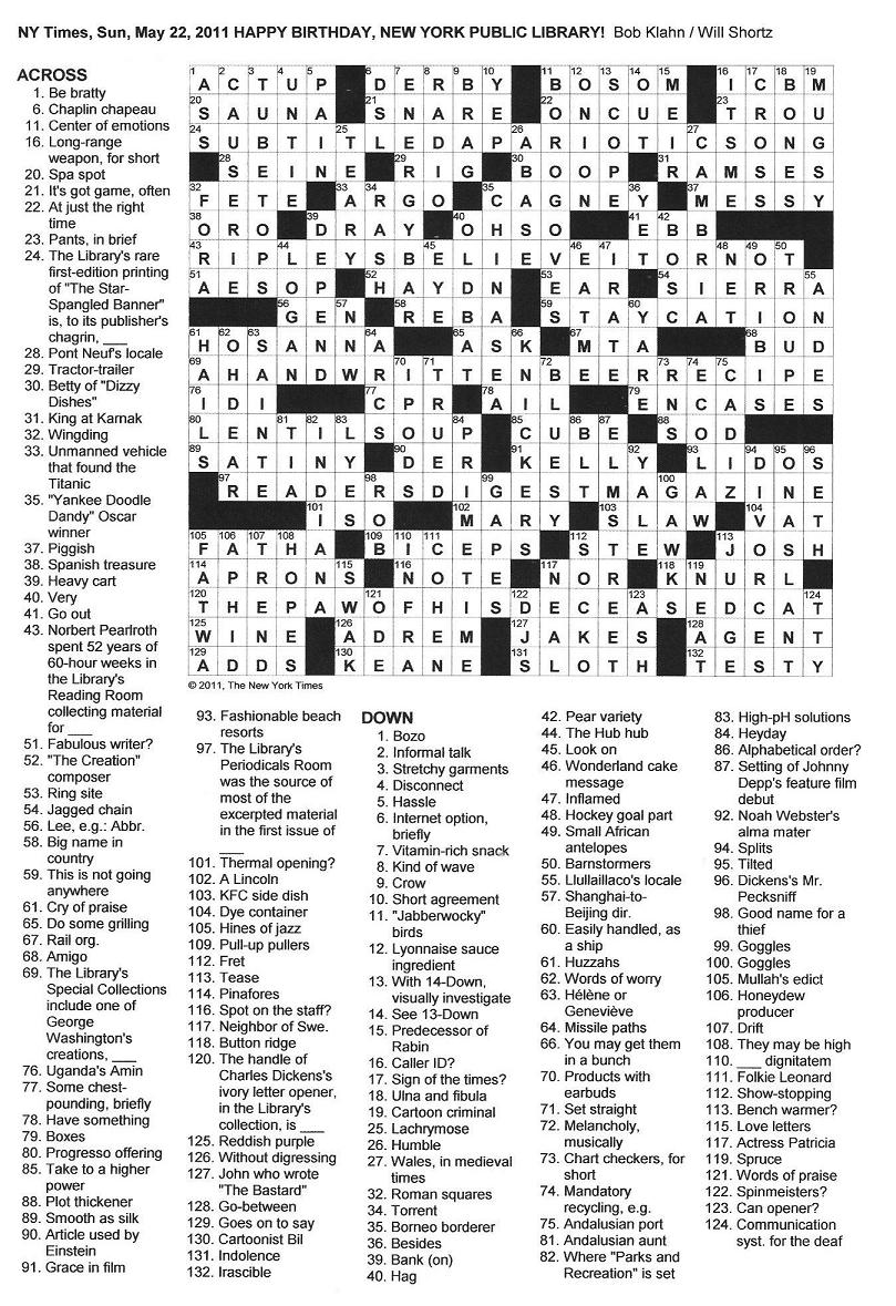 The New York Times Crossword In Gothic May 2011
