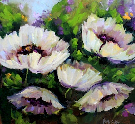 Nancy Medina Art: Sweet Emotion White Poppy Flower Painting and a ...