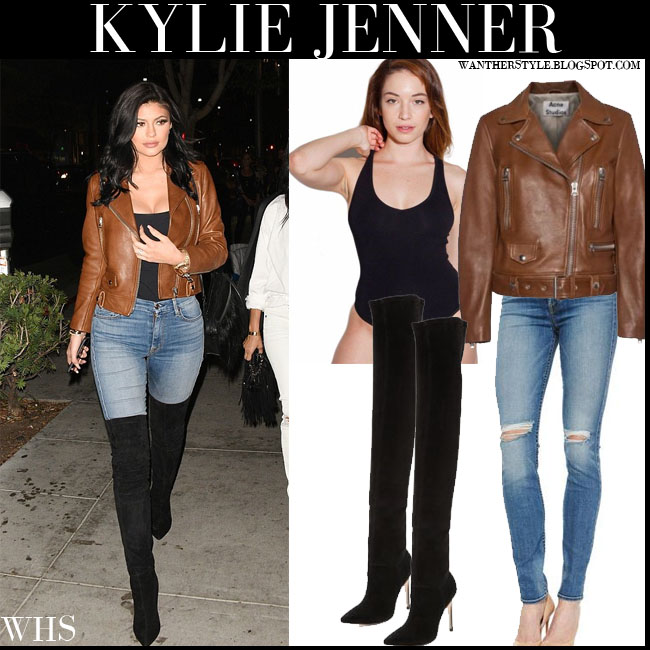 Kylie Jenner in brown leather acne jacket, black american apparel tank top, skinny jeans and black suede thigh boots what she wore july 29