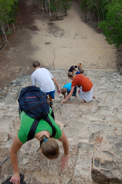 The Steep Climb up the Pyramid Temple of Nohoch Mul in Coba, Mexico