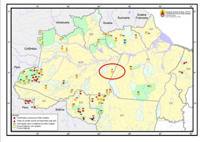 Mapa da Funai: Referências dos Índios Isolados