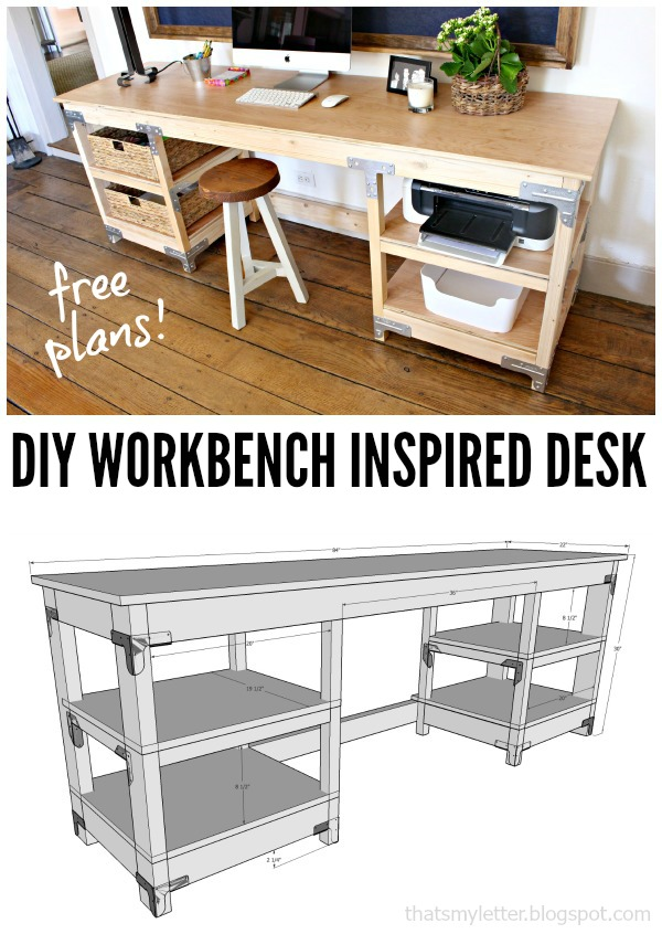 That 39 s my letter w is for workbench inspired desk Diy home office desk plans