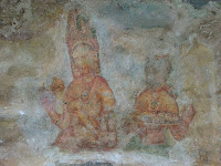 Ancient frescoes painting ruined because of millenniums, from hundreds Ladies graffiti dozen survived, Sigiriya, Sri Lanka