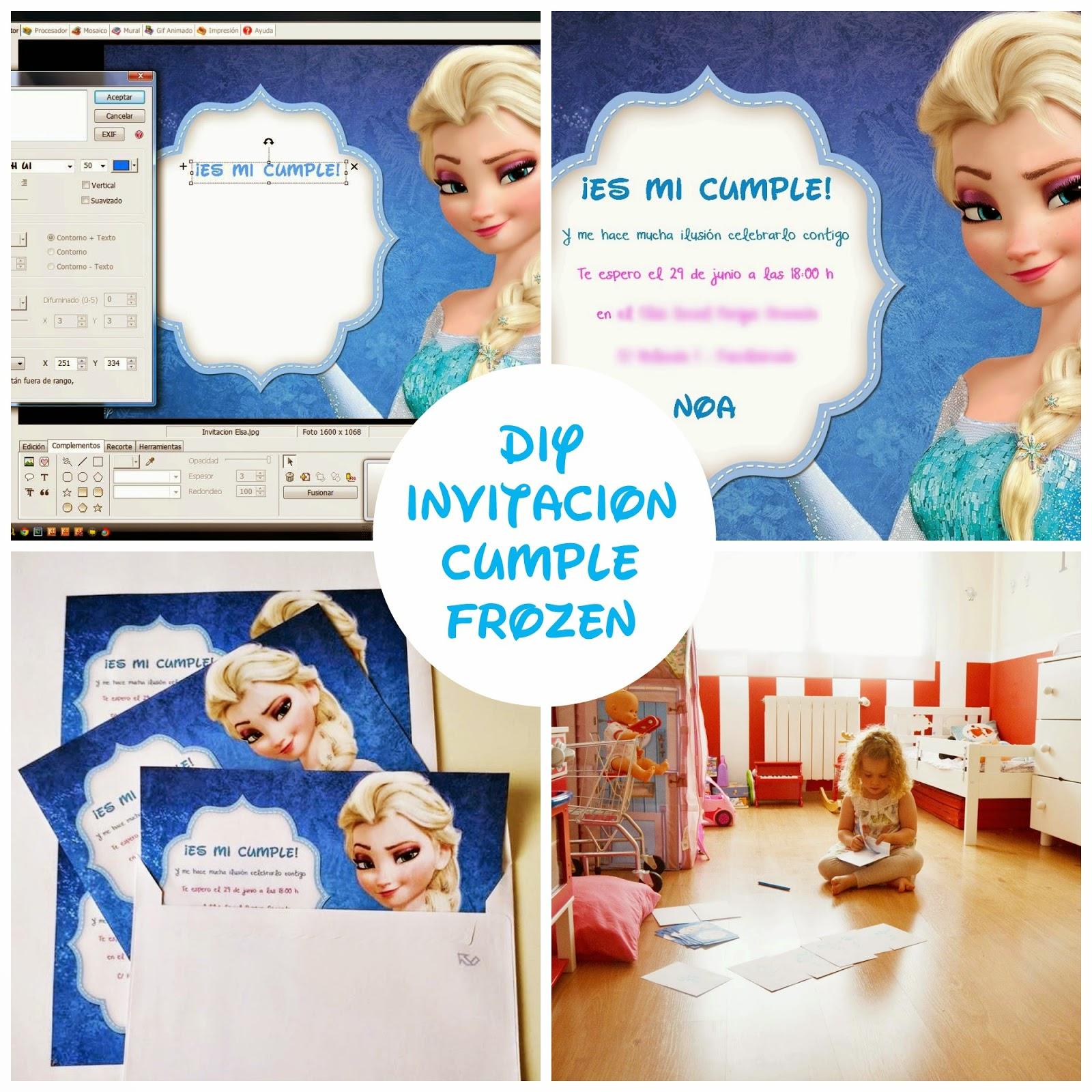 DIY Invitación cumpleaños frozen gratis blog niños mama de noa