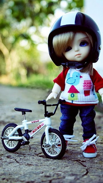 Cute Doll with Bicycle 360x640 Mobile Wallpaper  Mobile