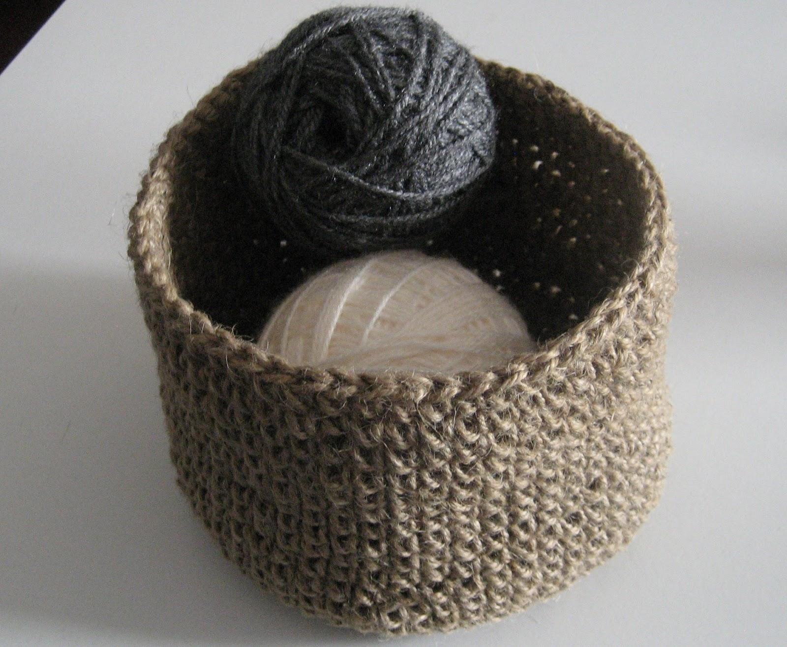 En el campo cestas de ganchillo - Cesta de cuerda y ganchillo ...
