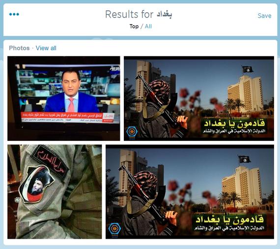 Durante un tiempo al buscar Baghdad en Twitter salia en los primeros resultados la propaganda del EI con la frase. Oh Baghdad estamos llegando!