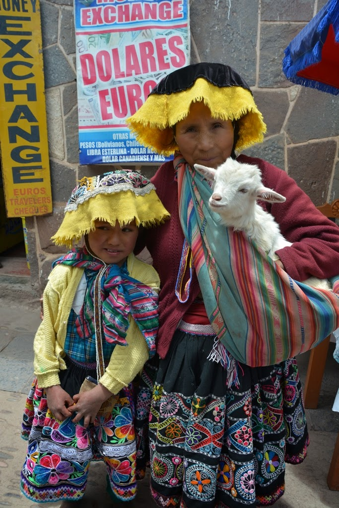 Pisac Market people with goat