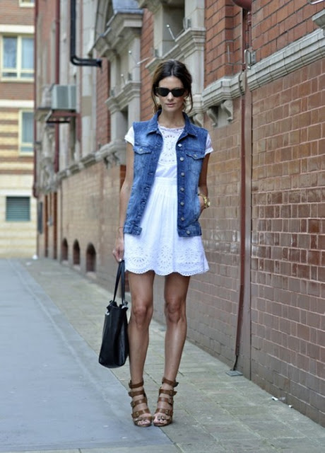 white dress, denim vest