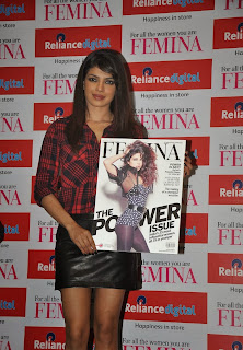 Priyanka Chpopra in Leather Mini Skirt at Femina Magazine Power Issue 2013 Launch