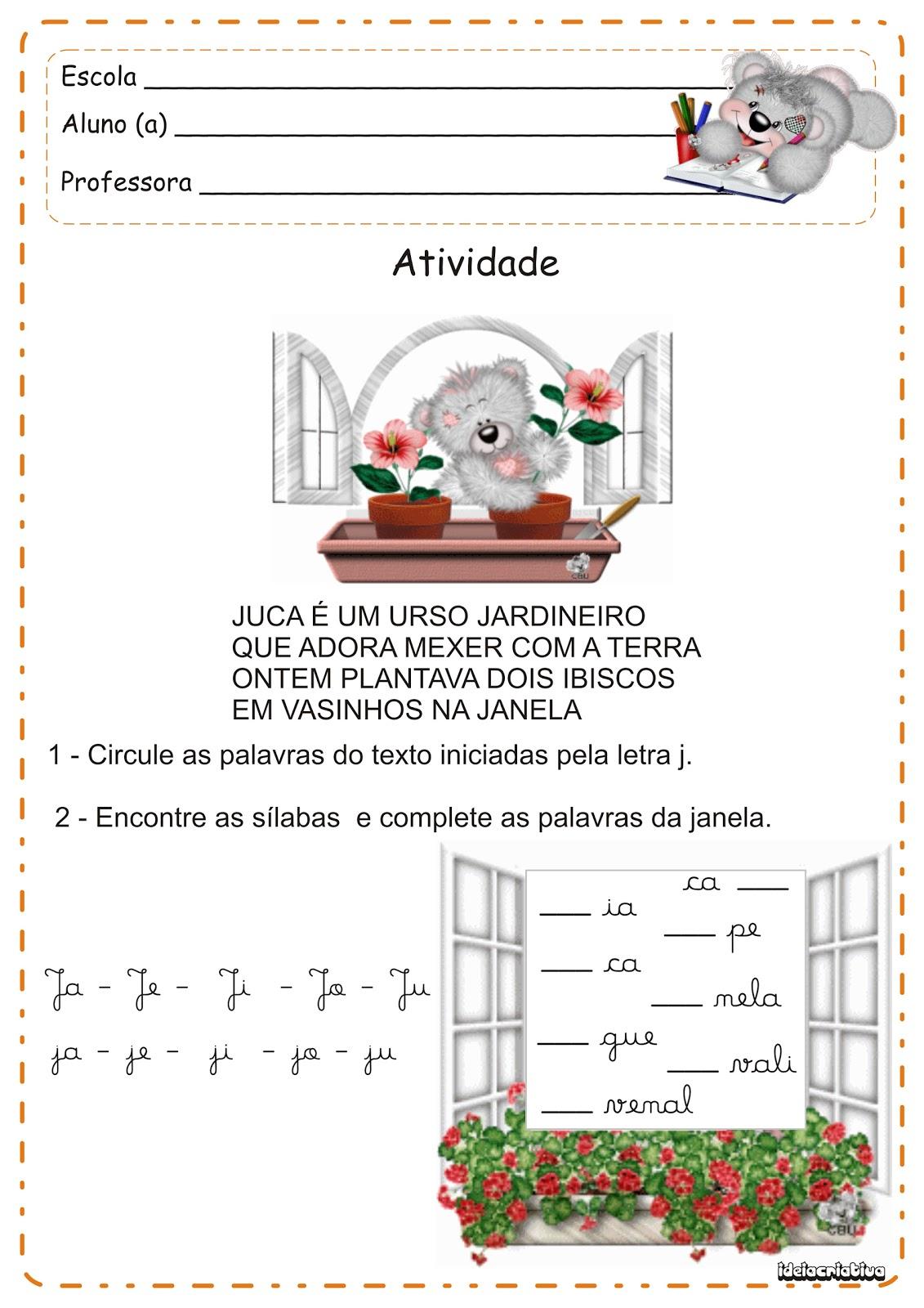 Atividades Letra J   Versinho E Letra Cursiva