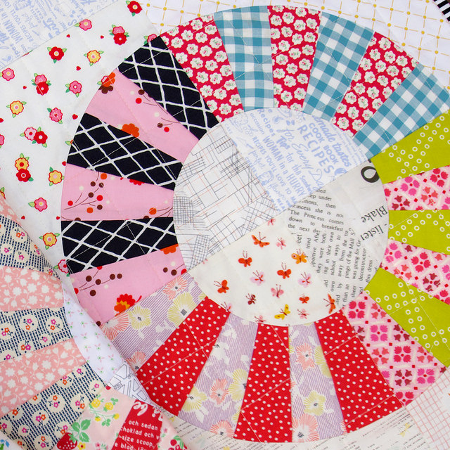 Scrappy Color Wheel Block Quilt - quilting detail | Red Pepper Quilts | Foundation Paper Piecing Pattern and Templates available.