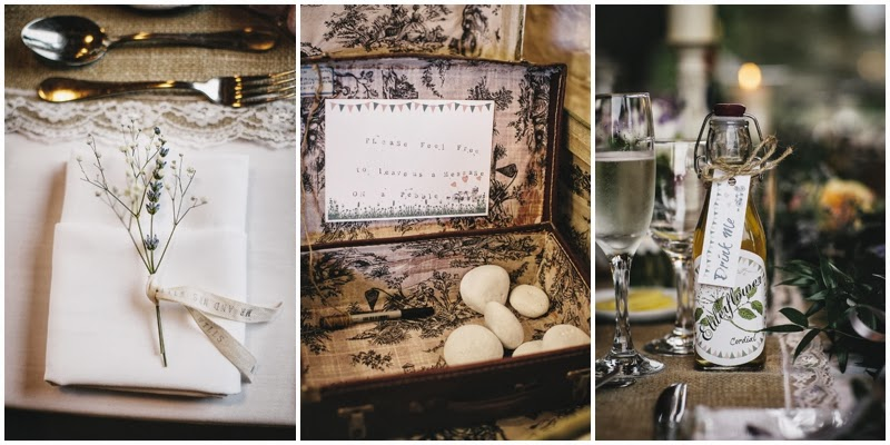 Rustic table decorations for farm wedding