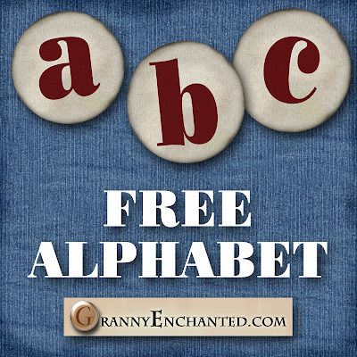 Free Lower Case Red on Round Linen Digi Scrapbook Alphabet