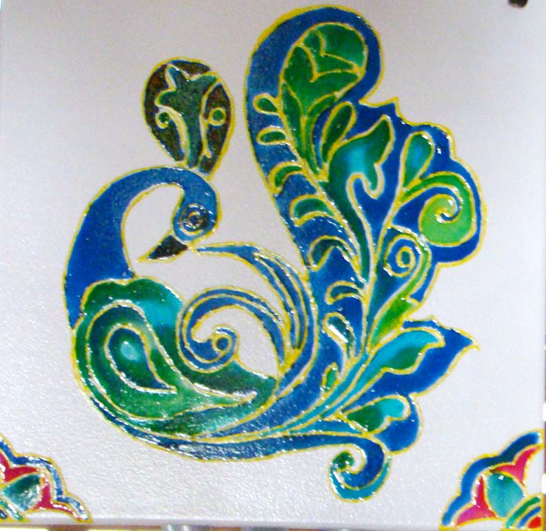 Peacock designs for glass painting - photo#19