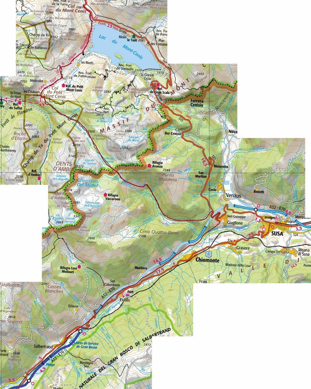 march from col du mont cenis to salbertran click on the map to get an expanded version the route is shown in red
