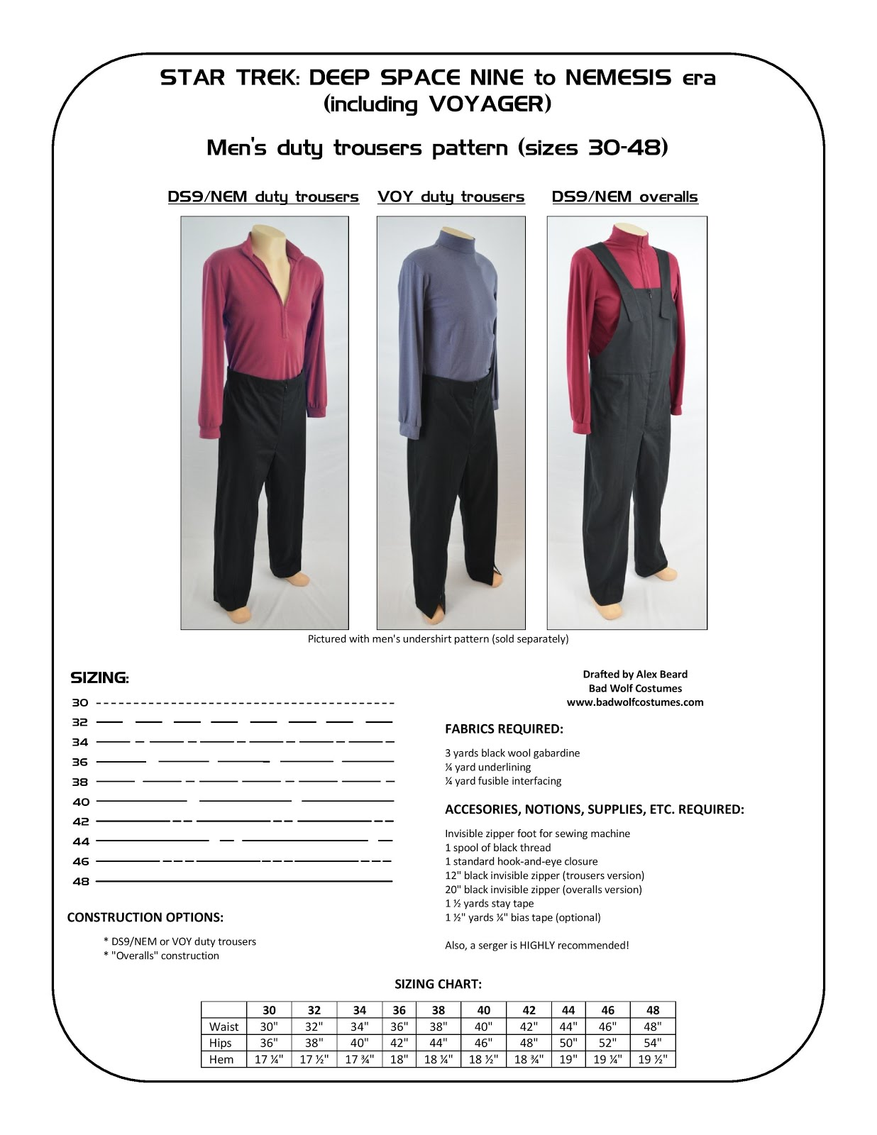 Star Trek: DS9/NEM and VOY Men's Duty Trousers Sewing Pattern