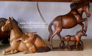 Wooden Horses Carvings Balinese Wood Crafts