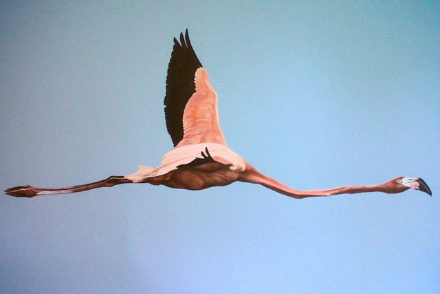 Scott Zaragoza, flying flamingo paiting