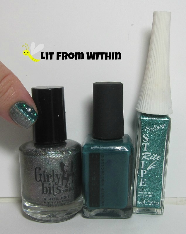 Bottle shot:  Girly Bits D!ck In A Box, Ginger + Liz Stress Management, and a Stripe Rite teal glitter striper.