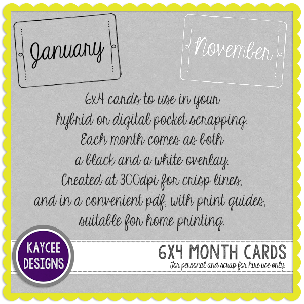 Month Journal Cards
