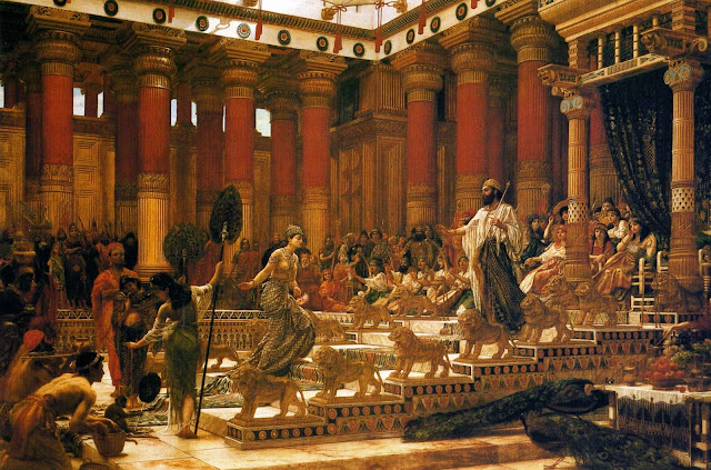 king solomon,queen of sheba,bible painting