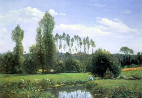 """Monet, """"View from Rouelles,"""" 1858"""