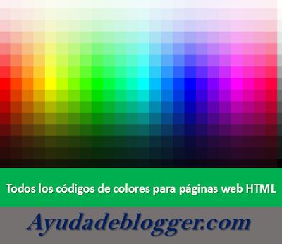 Todos los códigos de colores para páginas web HTML