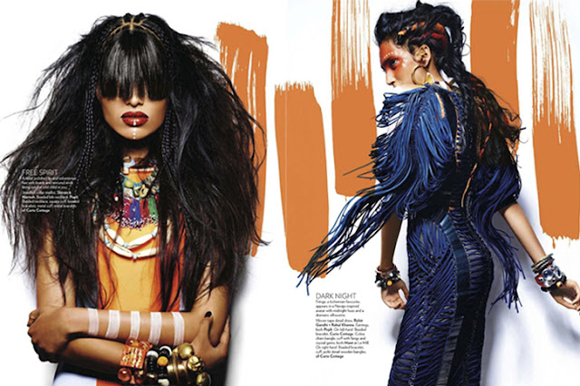 free spirit, indian designers, indian vogue march, tribal syle, editorial, Shivan & Narresh, Popli bib necklace, Curio Cottage, Rohit Ghandi + Rahul Khanna, Mawi, beaded bracelet