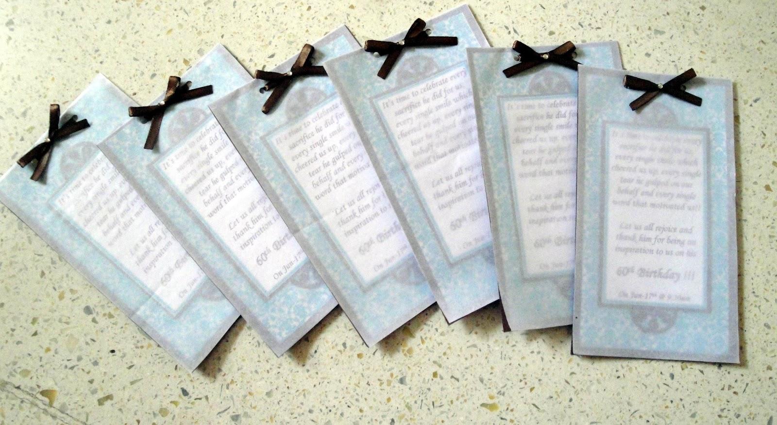 My Handmade cards: 60th birthday invites