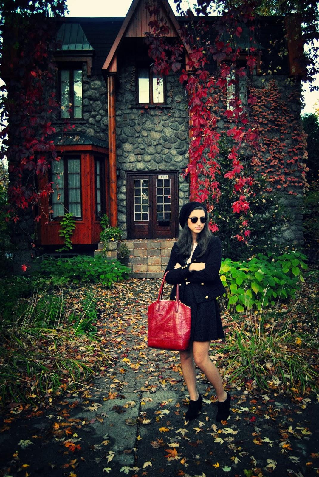 fall fashion red handbag black skirt jacket gold buttons beret