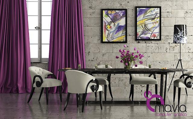 Arredamento di interni sala da pranzo moderna 3d arredamento casa e rendering fotorealistico - Tende per sala da pranzo classica ...