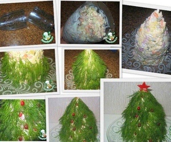 Как украшать новогодние салаты фото