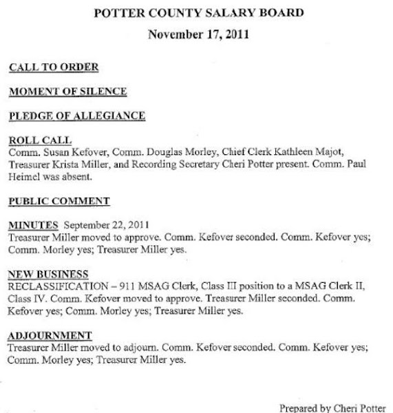 Potter County Salary Board Minutes Agenda