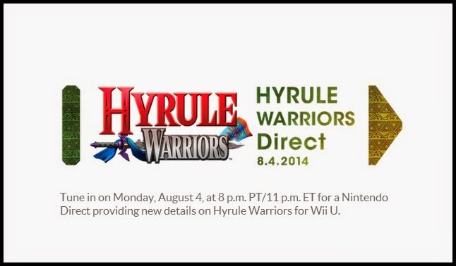 Image of announcement for Nintendo Direct which will focus on Hyrule Warriors